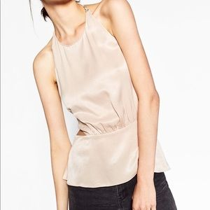 Zara pink/nude satin backless halter peplum top